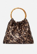 Pleated Bamboo Handle Clutch - Leopard