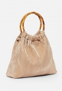 Pleated Bamboo Handle Clutch - Light Gold